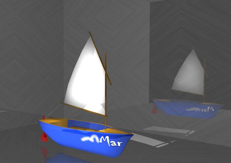 kleines Boot mit Segel